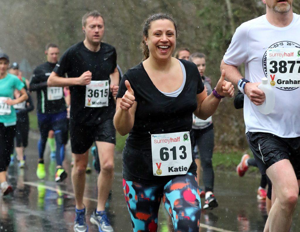 Katie running the Surrey half