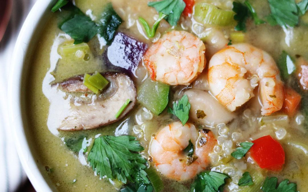 Vegetable Bean Soup with Shrimps