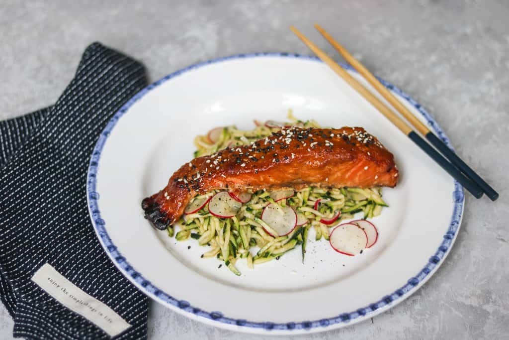 Miso Salmon With Zucchini Noodles