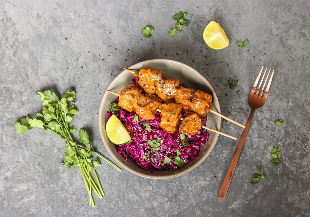 Satay Tempeh Skewers with Asian Slaw