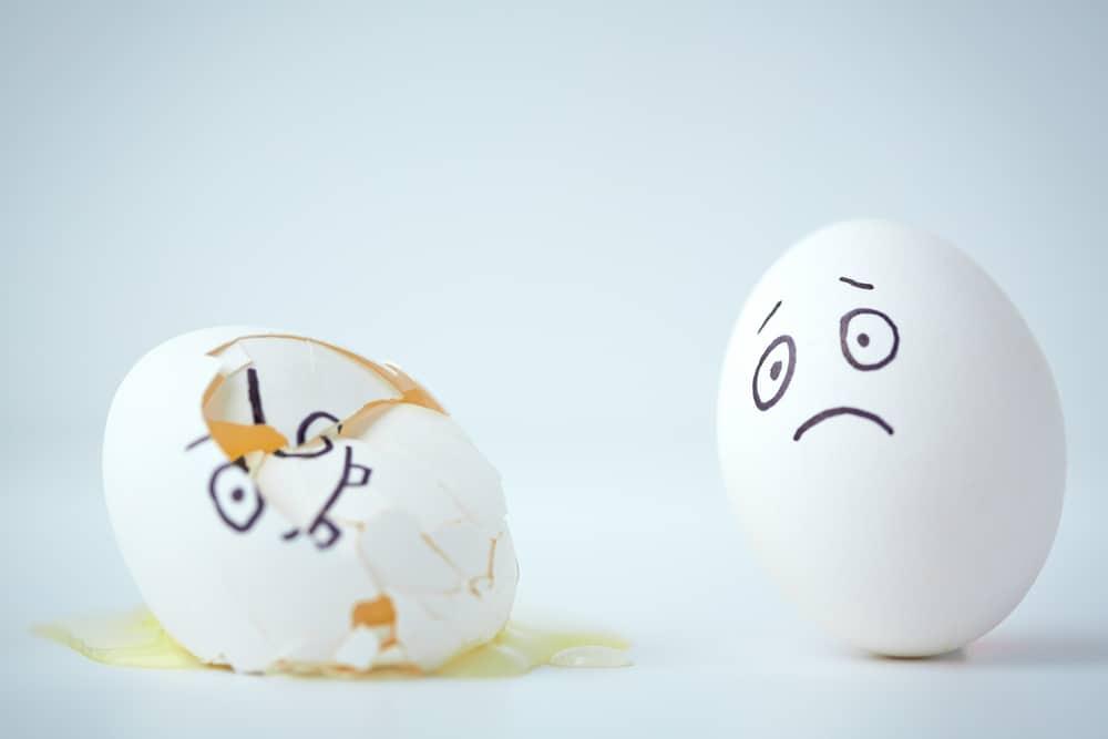 Egg broken and unhappy